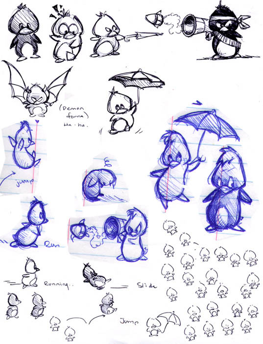 preliminary character design sketches: tooks the penguin